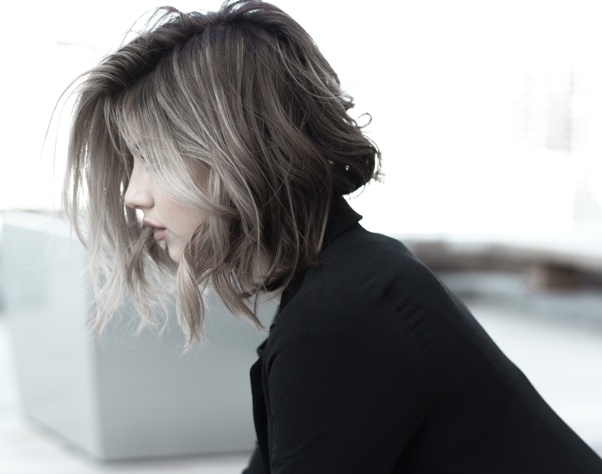 Gray Human Hair Extensions on Woman